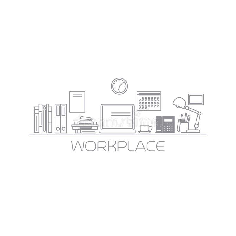 Mono färglinje illustration för arbetsplats royaltyfri illustrationer