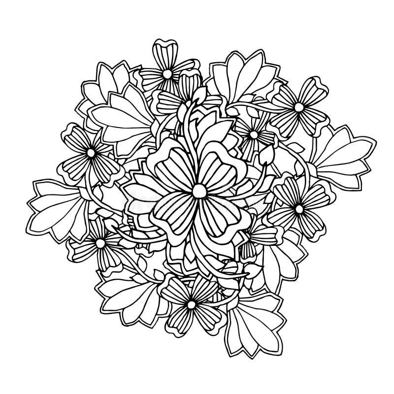 Mono färgsvartlinje konstbeståndsdel för vuxen design för sida för färgläggningbok samling tecknade blom- handillustrationer Etni vektor illustrationer