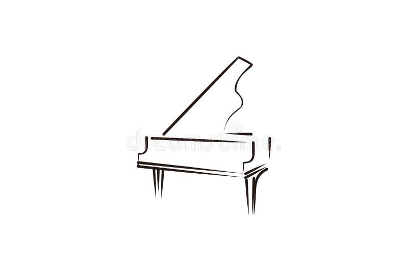 mono kreskowy pianino, muzykalny logo royalty ilustracja