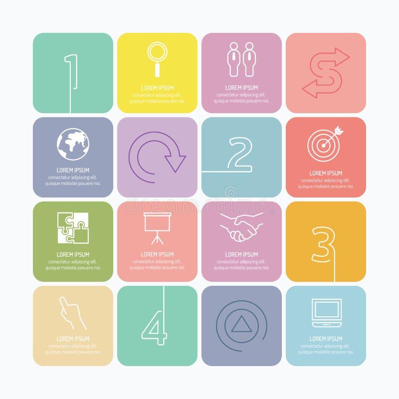 Mono línea del infographics de las opciones modernas del diseño con vagos suaves del color stock de ilustración