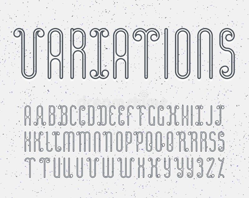 Mono línea fuente decorativa del vector Alfabeto latino del lett del esquema stock de ilustración