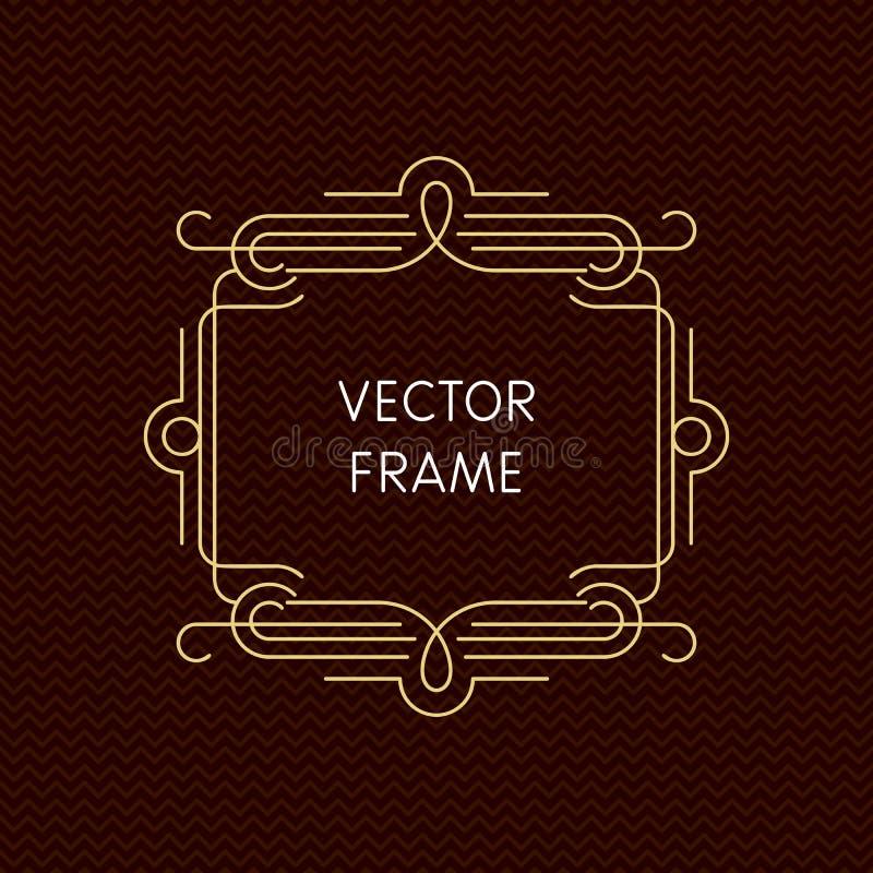 Mono línea marco del vector con el espacio de la copia libre illustration