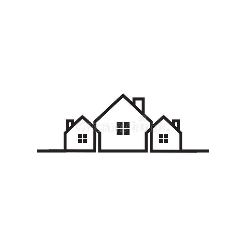 Mono línea plantilla del diseño del icono del logotipo de la casa de las propiedades inmobiliarias ilustración del vector