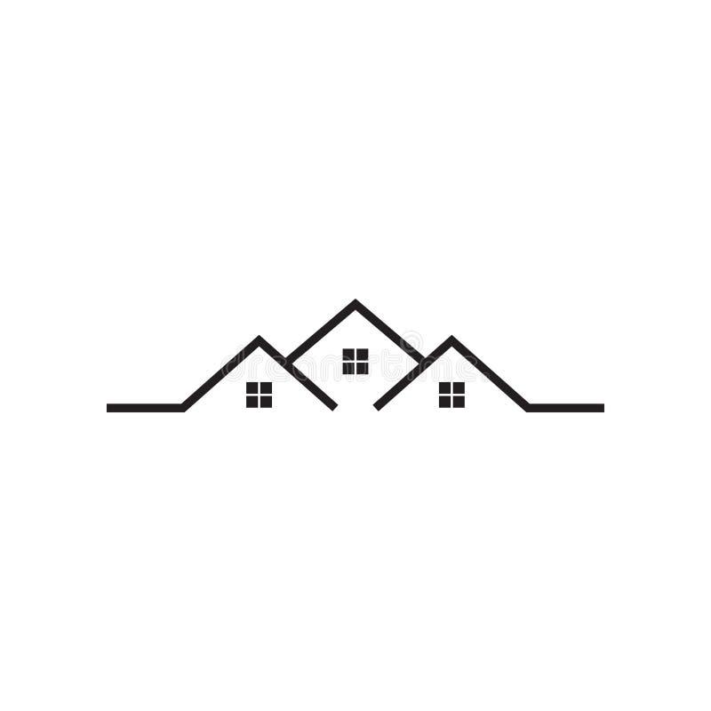 Mono línea plantilla del diseño del icono del logotipo de la casa de las propiedades inmobiliarias libre illustration