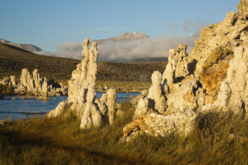 Mono Lake. Tufa formations on Mono Lake in the Owens Valley of California stock photography
