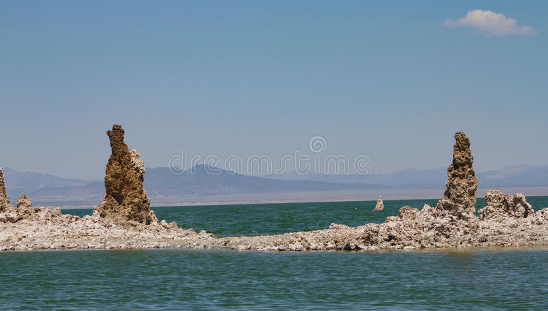 Mono Lake mineral twin towers stock image