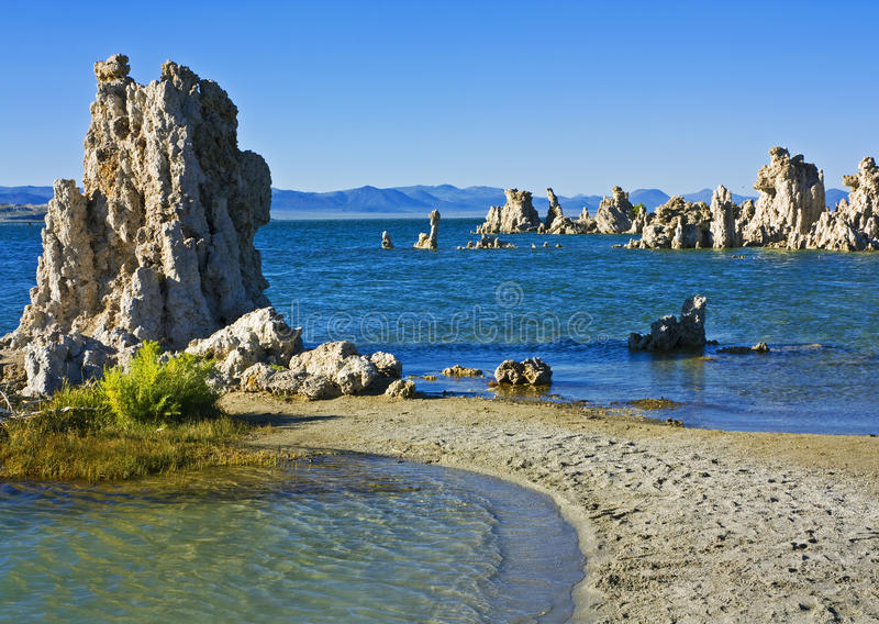 Mono Lake tufa formations. Tufa formations at Mono Lake near Lee Vining, California stock photos