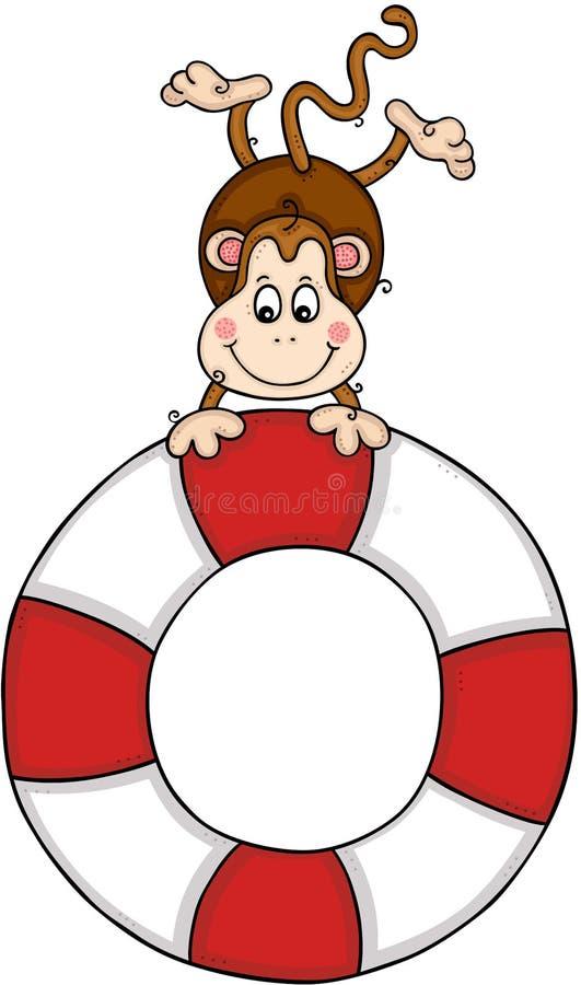 Mono lindo con una ayuda ahorrar el flotador de la vida libre illustration