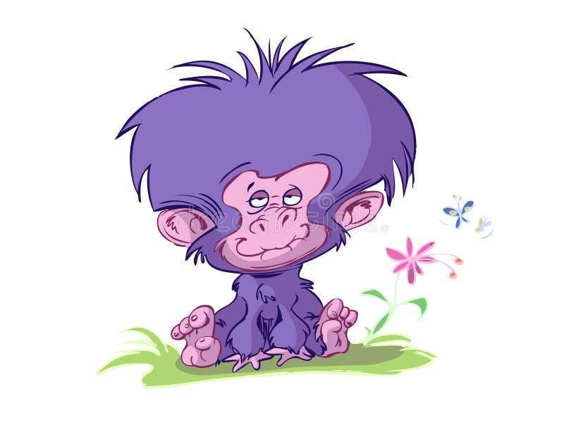 Mono lindo de la historieta del bebé stock de ilustración