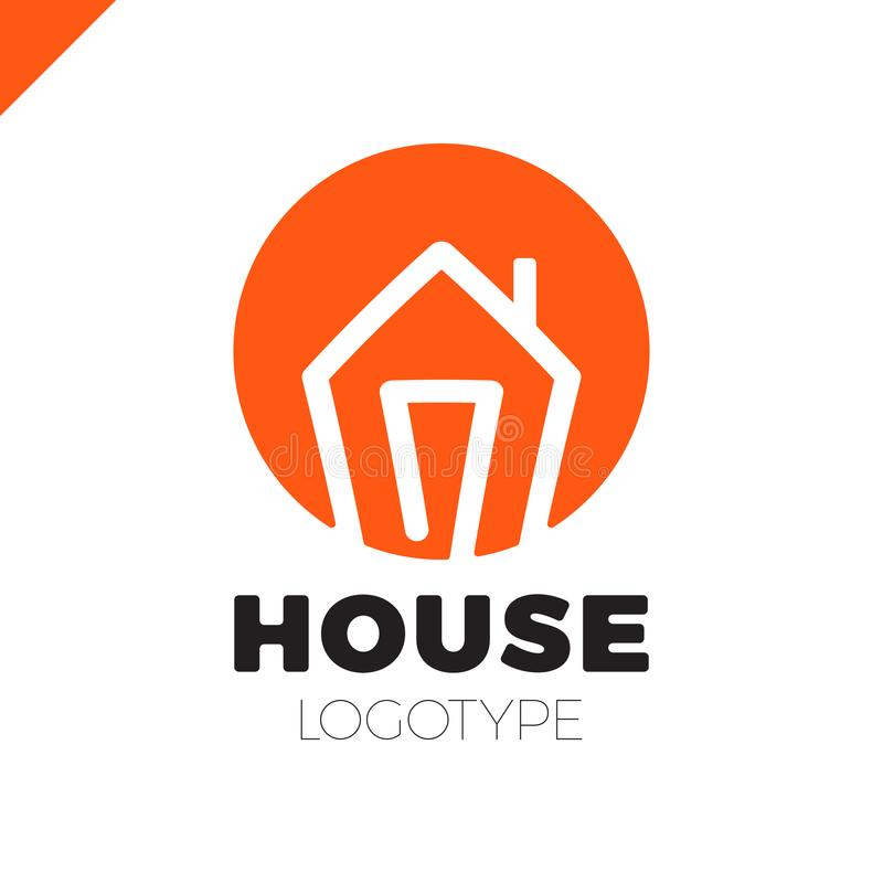 Mono line house logo in circle, icon. Arrow up isolated vector home symbols. royalty free illustration