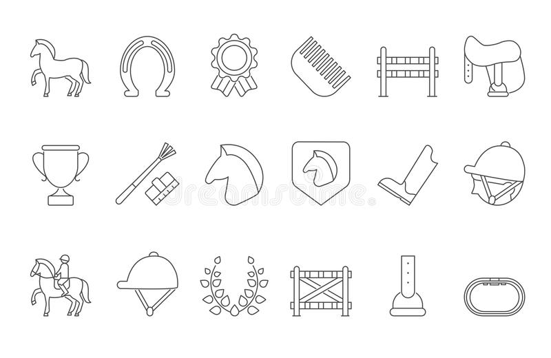 Mono line symbols of equestrian sport isolate on white stock illustration