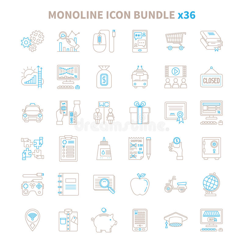 Mono line vector icon bundle 36 items.  royalty free illustration