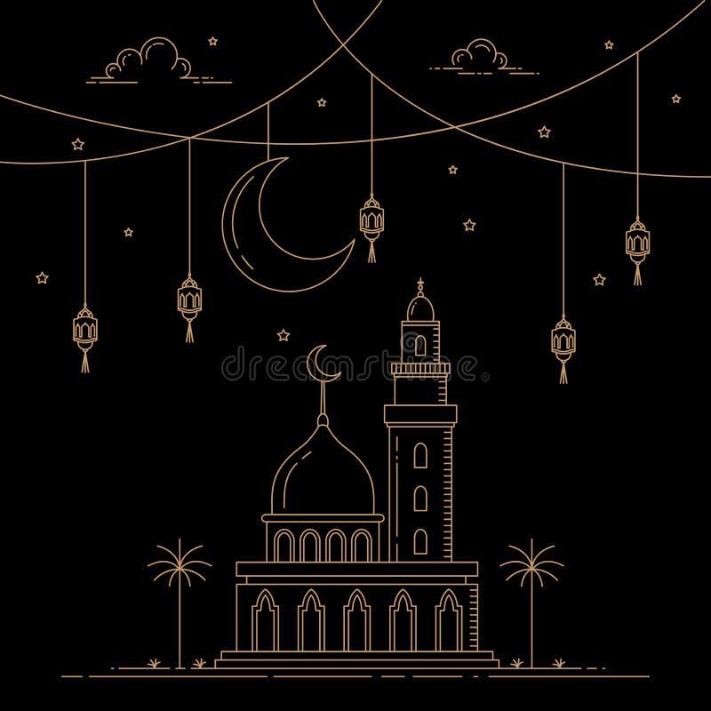 Mono linea celebrazione islamica di progettazione di stile illustrazione vettoriale
