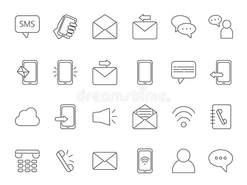 Mono linea insieme dell'icona del tema di affari Simboli della comunicazione illustrazione vettoriale