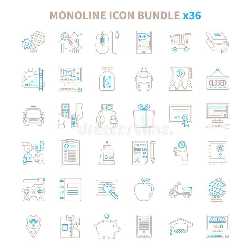 A mono linha ícone do vetor empacota 36 artigos ilustração royalty free