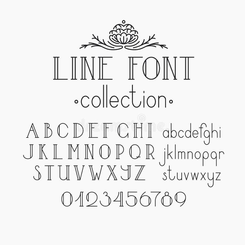 Mono linha fonte e numerais decorativos do vetor ilustração royalty free