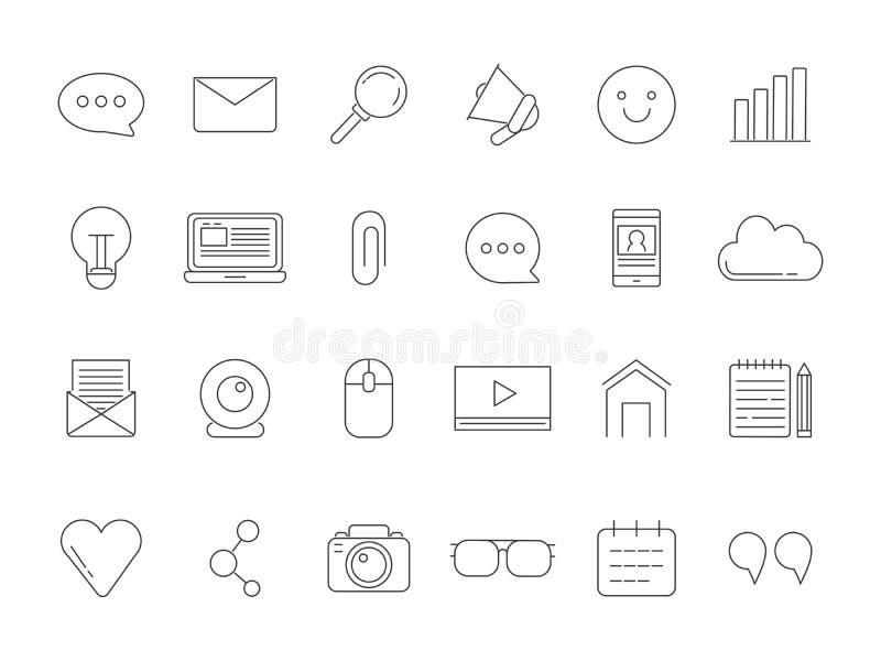 A mono linha imagens ajustou-se de vários símbolos para transmitir, blogging e copyrighting ilustração stock