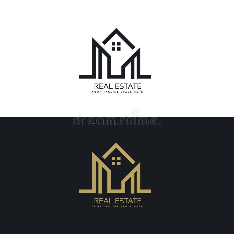 Mono linha projeto do logotipo da casa para a empresa de bens imobiliários ilustração royalty free