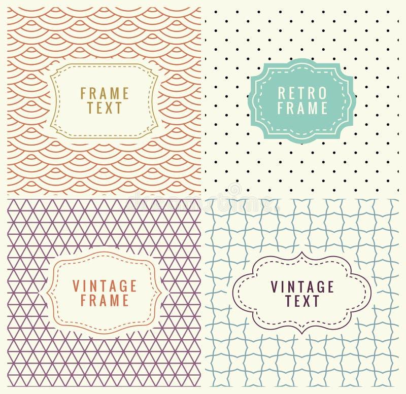 Mono linha retro quadros com lugar para o texto Molde do projeto do vetor, etiquetas, crachás em testes padrões geométricos sem e ilustração royalty free