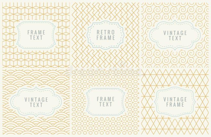 Mono linha retro quadros com lugar para o texto Molde do projeto, etiquetas, crachás em testes padrões geométricos sem emenda mín ilustração royalty free