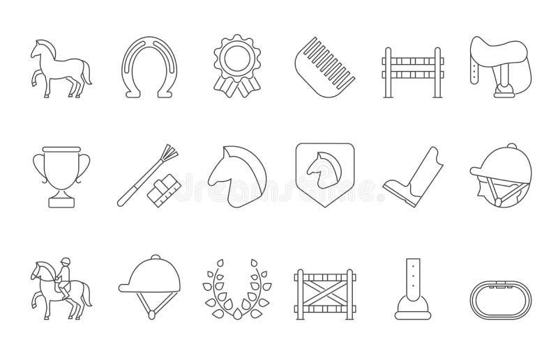 Mono linha símbolos de isolado do esporte equestre no branco ilustração stock