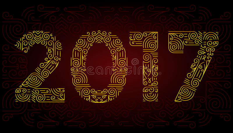 Mono linha símbolos elegantes do ano dos elementos do projeto Quadro Ilustração do vetor ilustração do vetor