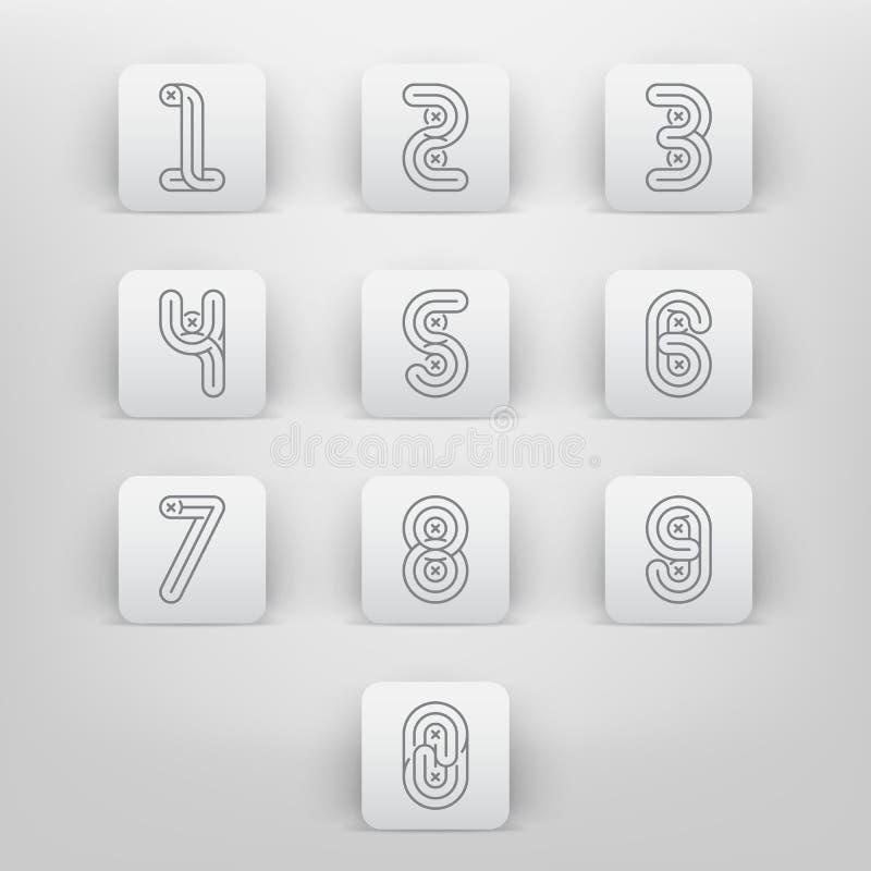 Mono linia stylu chrzcielnic Alfabetyczne liczby ustawiać royalty ilustracja