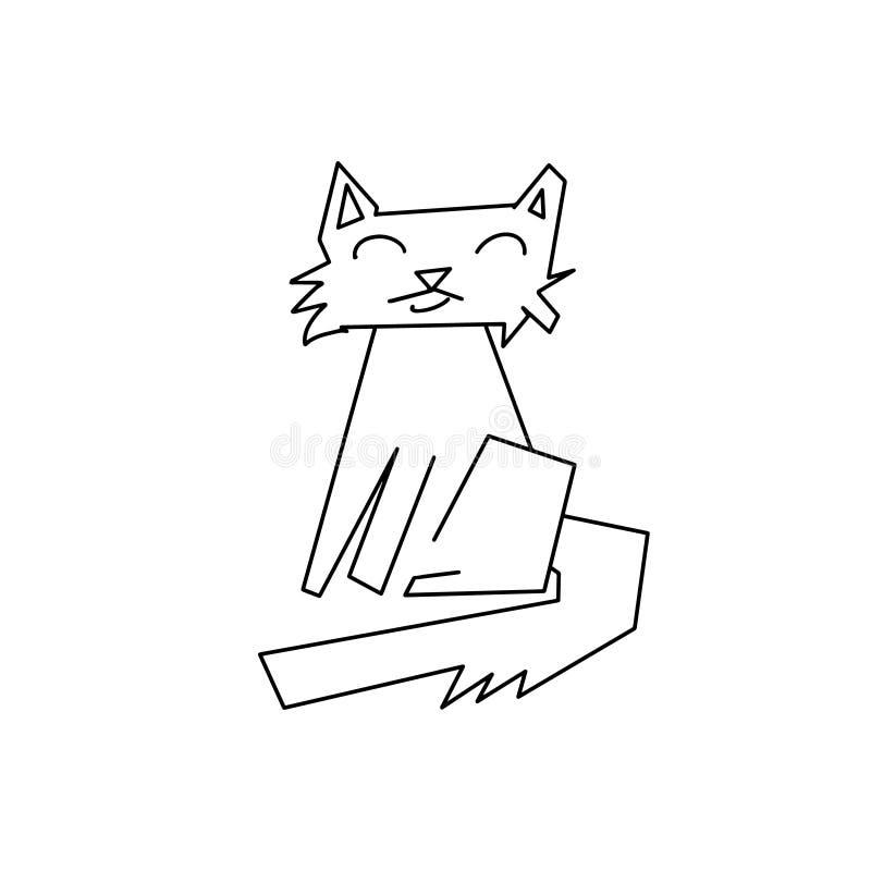 Mono linje abstrakt begrepp för svart katt Kattunge för utdragen abstraktion för hand djur med att le framsidan Lycklig husdjursy royaltyfri illustrationer