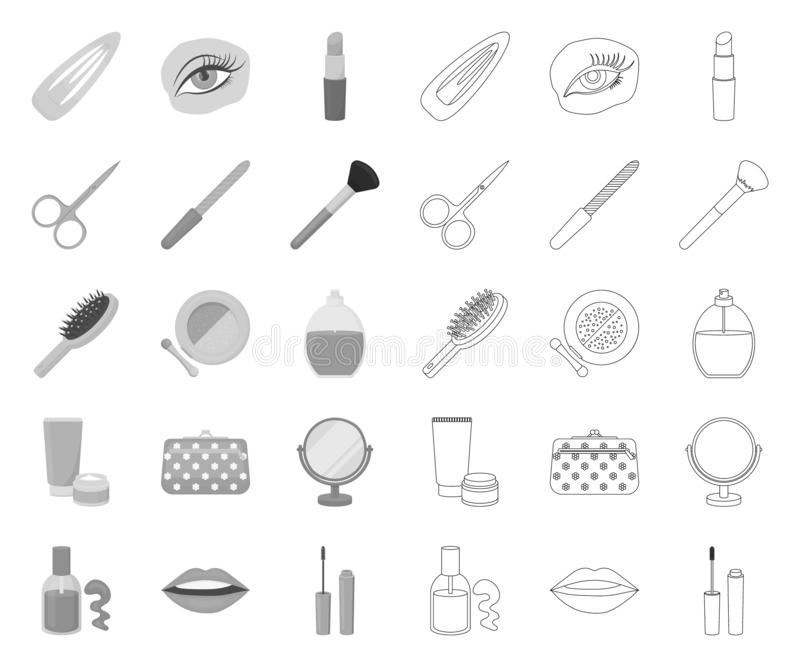 Mono makeup och skönhetsmedel, översiktssymboler i den fastställda samlingen för design Makeup och reng?ringsduk f?r materiel f?r stock illustrationer