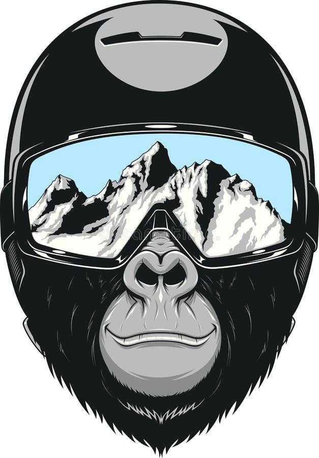Mono que lleva un casco ilustración del vector