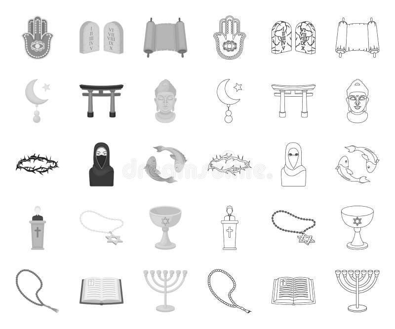 Mono religion och tro, översiktssymboler i den fastställda samlingen för design Tillbeh?r reng?ringsduk f?r materiel f?r b?nvekto stock illustrationer