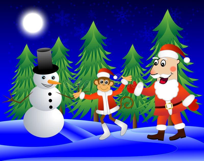 Mono, Santa Claus y muñeco de nieve al borde del bosque libre illustration