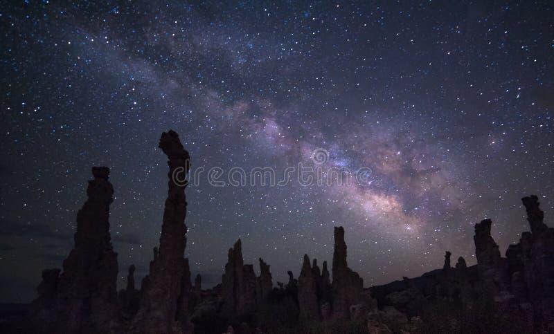 Mono sjö under Vintergatan fotografering för bildbyråer