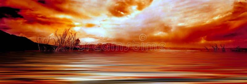mono soluppgång för lake royaltyfri foto
