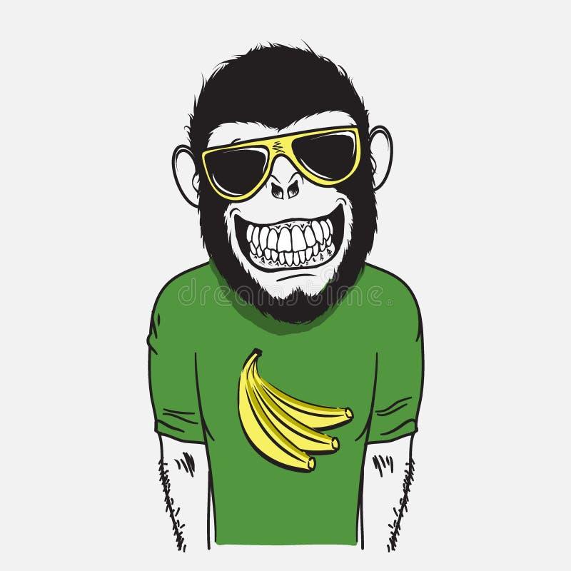 Mono sonriente divertido stock de ilustración