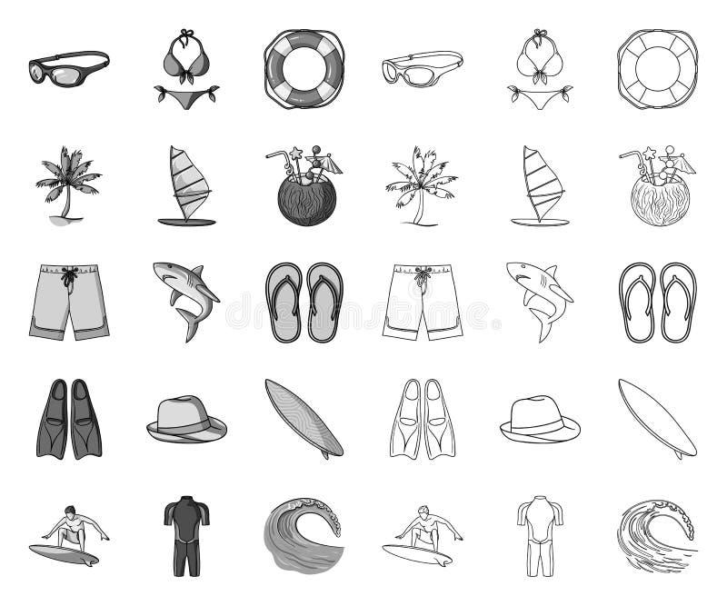 Mono surfando e extremo, ícones do esboço em coleção ajustada para o projeto Web do estoque do s?mbolo do vetor do surfista e dos ilustração royalty free