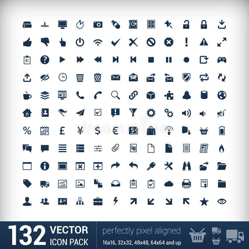 Mono symboler för modern användargränssnittlägenhet, PIXEL stock illustrationer