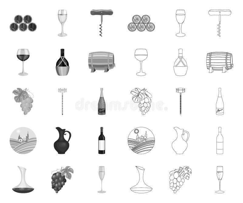 Mono vinprodukter, översiktssymboler i den fastställda samlingen för design Utrustning och produktion av vinvektorsymbolet lagerf stock illustrationer