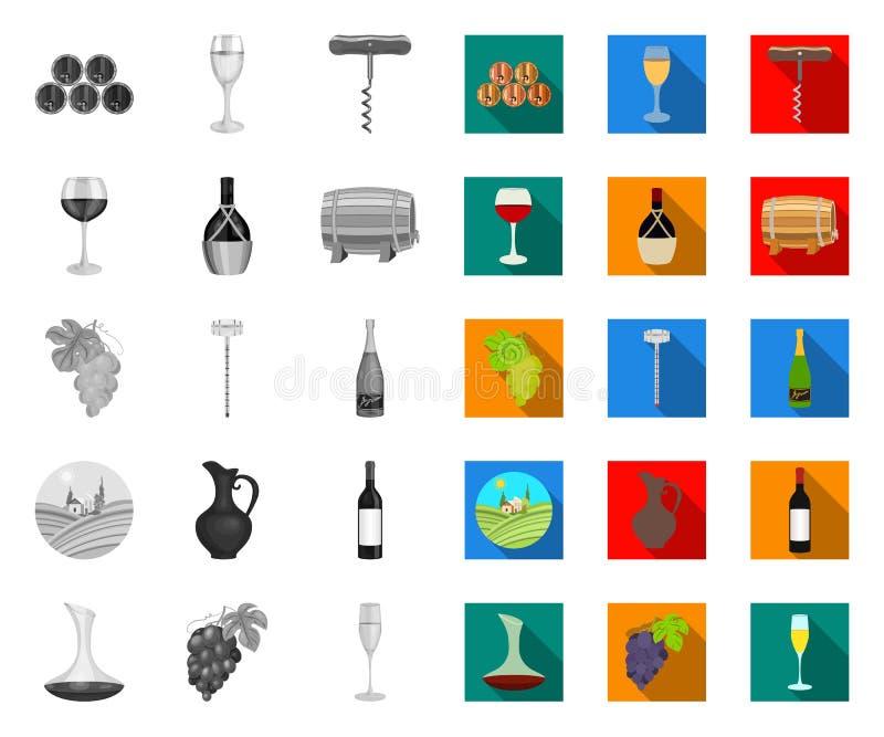 Mono vinprodukter, plana symboler i den fastställda samlingen för design Utrustning och produktion av vinvektorsymbolet lagerf?r  royaltyfri illustrationer