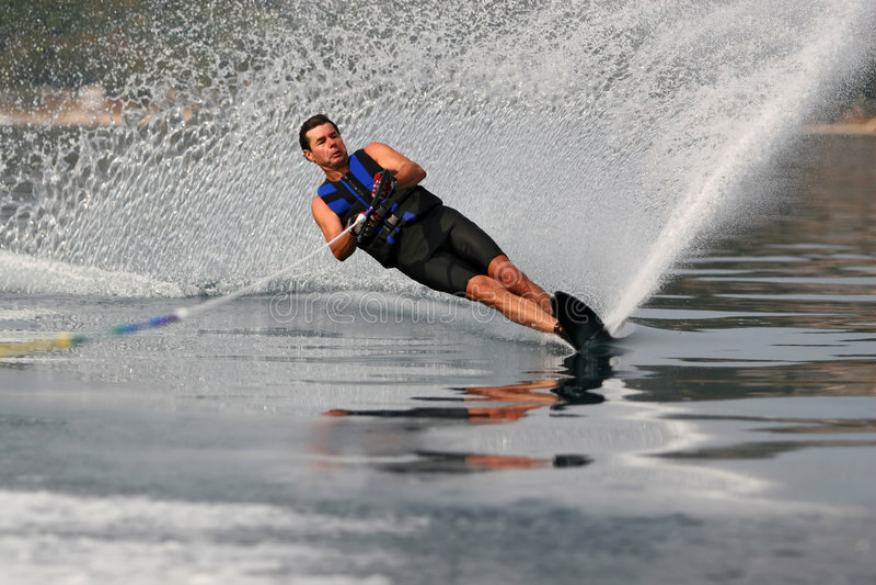 Mono waterskiën stock foto