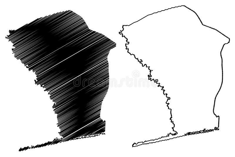 Monoabteilungs-Abteilungen von Benin, Republik Benin, Dahomey Karten-Vektorillustration, Gekritzelskizzen-Monokarte lizenzfreie abbildung