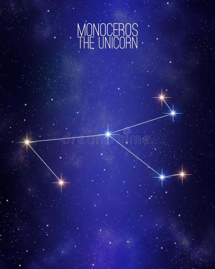 Monoceros在满天星斗的空间背景的独角兽星座地图 根据他们的星相对大小和颜色树荫 库存例证