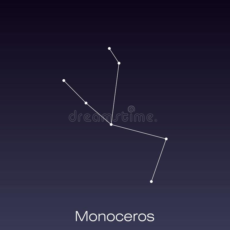 Constellation as it can be seen by the naked eye. Monoceros constellation as it can be seen by the naked eye royalty free illustration