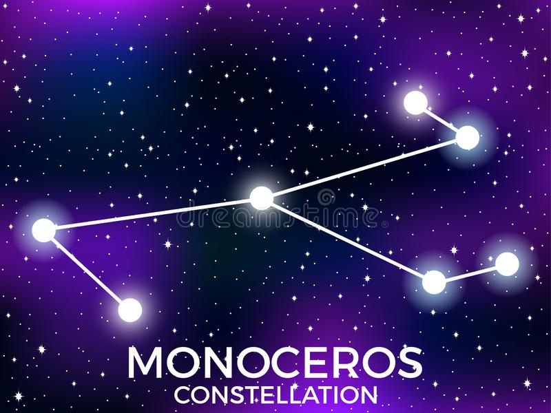 Monoceros constellation. Starry night sky. Cluster of stars and galaxies. Deep space. Vector. Illustration vector illustration
