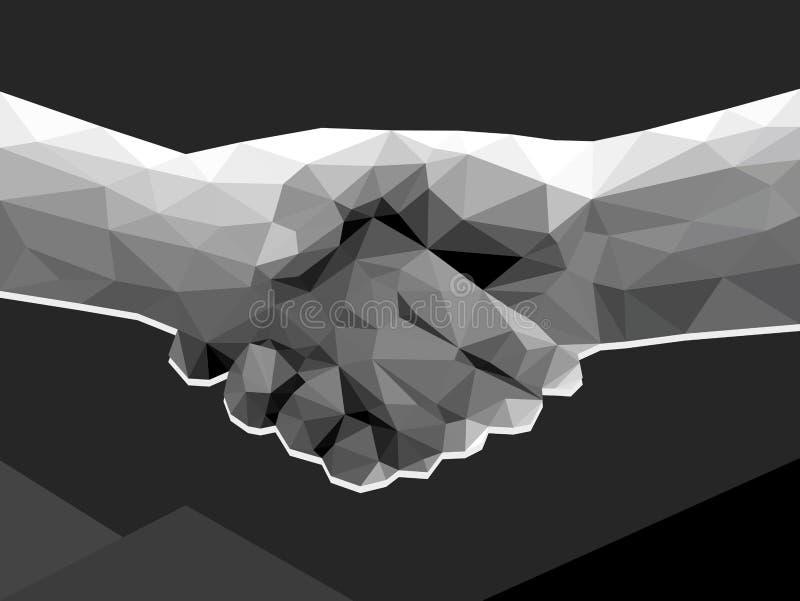 Monoch för överenskommelse för avtal för handskakning för två händer polygonal låg poly stock illustrationer