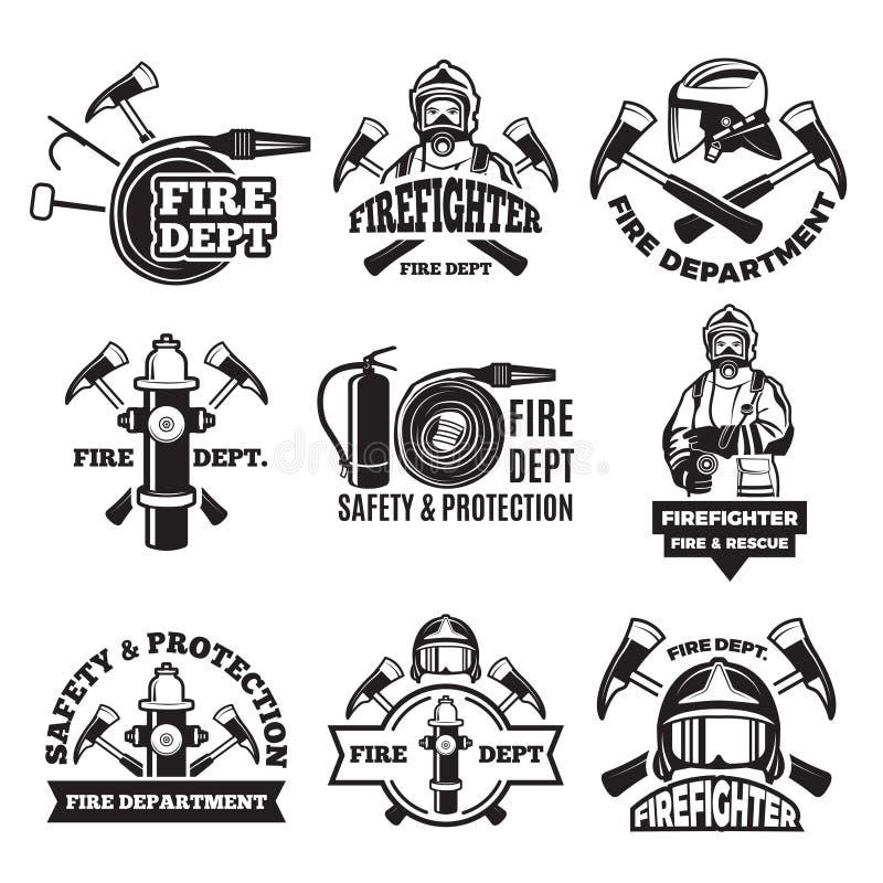 Monochrom etykietki ustawiać dla pożarniczego działu obrazki ilustracji