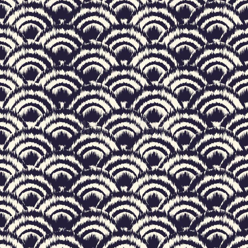 Monochrom farbował skutka plemiennego falowego tło inspirującego Japońską tradycyjną Seigaiha projektów i Ikat barwiarstwa techni ilustracja wektor