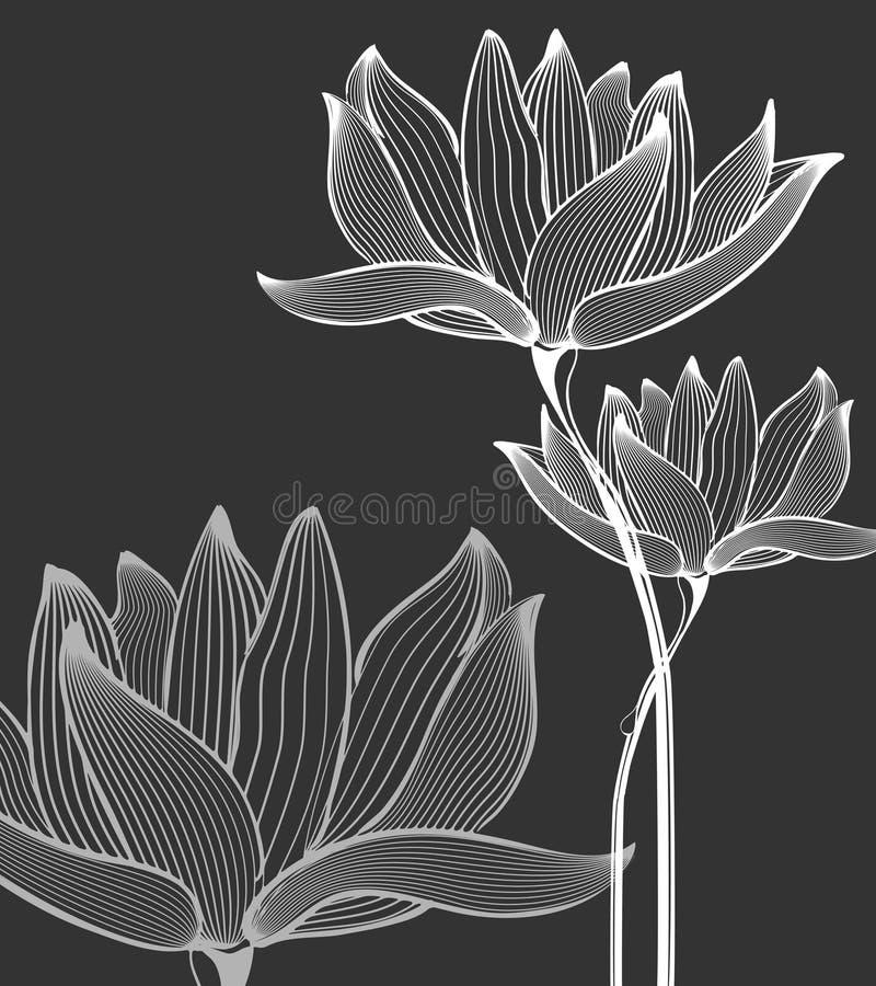 Kwiatu tło nad czernią ilustracja wektor