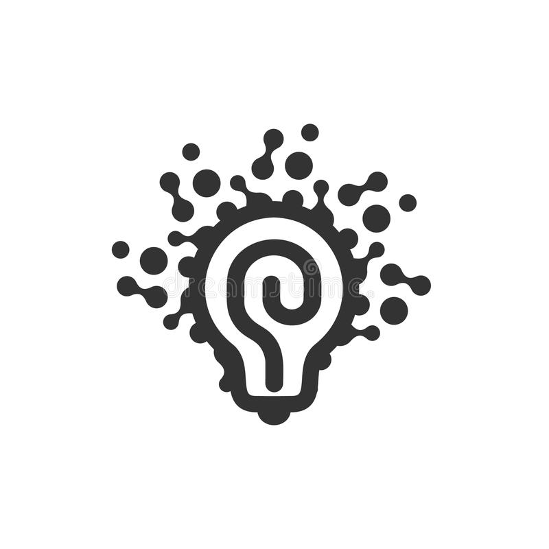 Monochrom stylizował lightbulbs logotyp, nowego pomysł i rozwiązanie abstrakcjonistycznego symbol, płaskiej jaskrawej kreskówki p royalty ilustracja