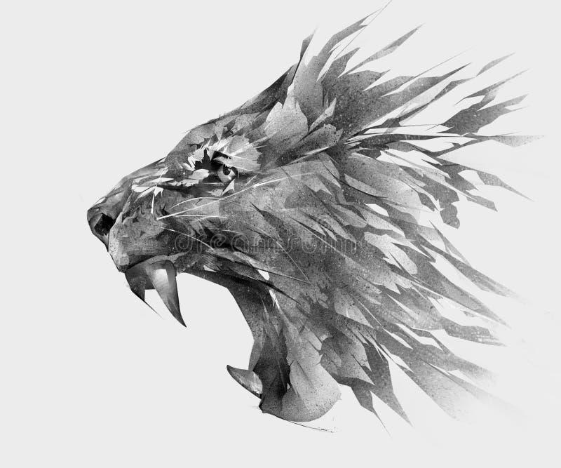 Monochrom stylizował rysunek lew twarzy boczny widok ilustracja wektor